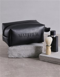 Personalised Leatherette Gents Black Wash Bag