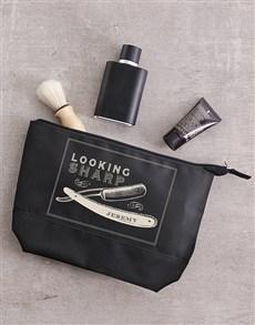 Personalised Leatherette Gents Brown Wash Bag
